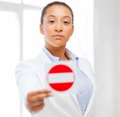 African woman showing stop sign — Stock Photo