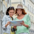 Smiling teenage girls with map and camera outdoors — Stock Photo #80122020