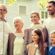 Happy family in front of house outdoors — Stock Photo #80612538