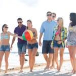 Group of happy friends walking along beach — Stock Photo #81161336