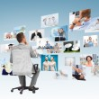 Businessman sitting in office chair from back — Stock Photo #81262606