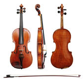Violin and bow on white background — Stock Photo