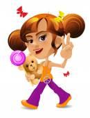 A cartoon wenig Mädchen mit einem Spielzeug-Bären und ein Bonbon — Stockvektor