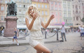 Funny photo of the wet blond lady — Stock Photo