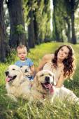 Family with pets — Stock Photo