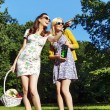 Girlfriends looking for place for picnic — Stock Photo #55244757