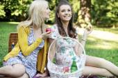 Two gorgeous girlfriends sitting on the blanket — Stock Photo