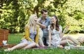 Three friends during the picnic — Stock Photo
