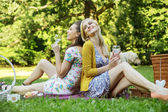 Two joyful women sitting on the blanket — Stockfoto