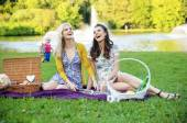 Two girlfriends laughing during picnic — Stock Photo