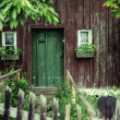 Old house with a deep green door — Stock Photo #55250081