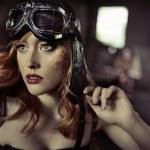 Portrait of the fabulous airwoman — Stock Photo #55252897
