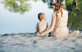 Mom looking after her lovely son — Stock Photo