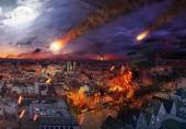 Apocalypse caused by a meteorite — Stock Photo