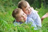 Portrait of two cheerful brothers — Stock Photo
