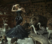 Sensual woman in a locked room full of wild animals — Stock Photo