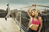 Amazing blond lady with muscular boyfriend — Stock Photo