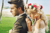 Closeup portrait of the marriage couple — Stock Photo