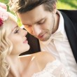 Delicate bride with handsome groom — Stock Photo #59239905