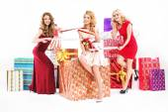 Beautiful women tucked in a ribbon — Stock Photo
