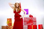 Portrait of sexy young Santa's wife — Stock Photo