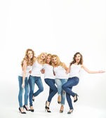Cheerful and glad women posing together — Stock Photo
