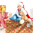 Two cute brothers with presents — Stock Photo #60403167