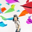 Colorful portrait of a little pilot — Stock Photo #60405001