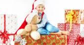 Portrait of cute little boy with teddy bear — Stock Photo