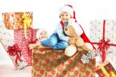 Two cute brothers with presents — Stock Photo