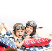 Portrait of two little pilots — Stock Photo