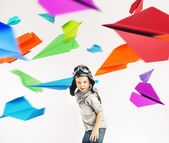 Colorful portrait of a little pilot — Foto de Stock