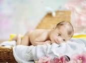 Portrait of the newborn child — Stock Photo