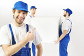 Three satisfied builders during the break — Stock Photo