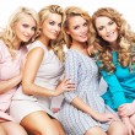 Closeup portrait of the four girlfriends — Stock Photo #66895311