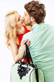 Portrait of an young kissing couple — Stock Photo