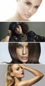 Multiple portrait of four attractive ladies — Stock Photo