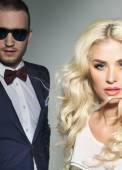 Alluring blond lady with the handsome husband — Stock Photo