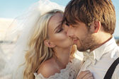 Romantic picture of young bride kissing her husband — Stock Photo