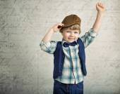 Handsome little boy with a victory gesture — Stock Photo
