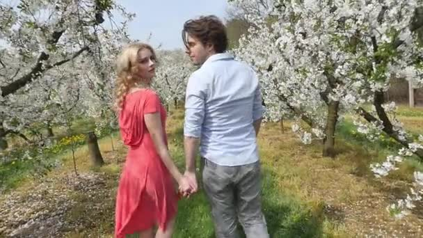 Cheerful couple enjoying leisure time in the orchard — Vidéo