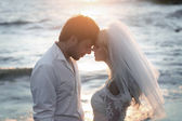 Closeup portrait of young and happy newlyweds — Stock Photo