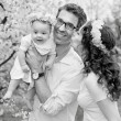 Black&white portrait of a happy family — Stock Photo #74098855