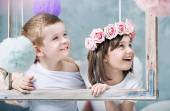 Conceptual photo of kids holdng a photo frame — Stock Photo