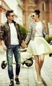 Romantic portrait of a walking couple — Stock Photo