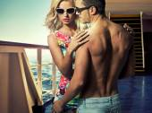 Attractive young couple on the ferry — Stock Photo