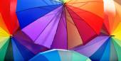 Picture of a bunch of colorful umbrellas — Stock Photo