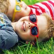 Cheerful brothers lying on the lawn — Stock Photo #77500248