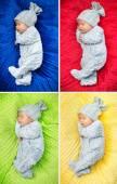 Multiple picture of a newborn child — Stock Photo