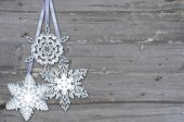 Snowflake  on  wood background — Stock Photo